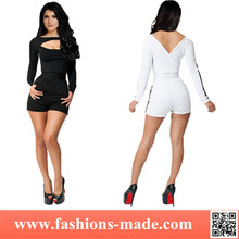 Women Sexy Distinctive Black and White Clubwear Jumpsuit
