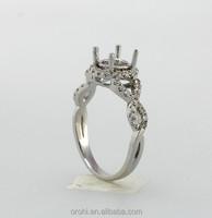 Twisted Design Jewelry Band 14k 18k White Gold Diamond Engagement Semi-Mount Ring