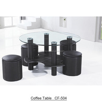 Modern round tempered glass coffee table with stools
