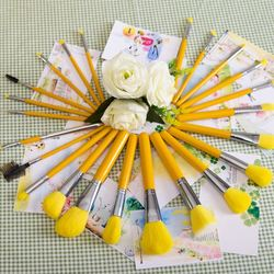 Free Shipping 23pcs Profession Candy Color Brush Yellow Nylon Hair Makeup brushes Set Make Up Organizer Bags