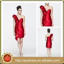 ALC4006 Ultimate Fashion Sheath Red One Shoulder Short Evening Party Woman Dress Cocktail Dresses