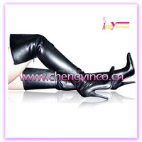 China wholesale lady long high heel thigh high women black giltter PU sexy boots for club shoes