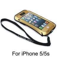 Free Shipping 2015 Hottest Protective metal Bling trendy shockproof one piece phone case with shoulder strap for iphone5/5s