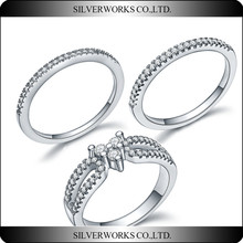 New Design 925 Sterling Silver Female CZ stone Friendship Ring Set with 3 pcs crystal rings