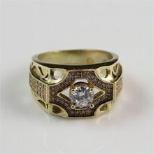 2015 Stunning Latest Design of Factory Price Fashion White Zircon Raw Brass Man Gold Ring