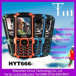 8G waterproof phone waterproof cdma mobile phone HYT666 CDMA and gsm support 3 SIM card 2.6 inch rugged waterproof cell phone