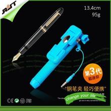 2015 3X mini size 13.4cm 95g with mirror folding aluminum selfie stick wired, colorful selfie stick for motorola moto g