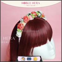 Foam rose flower stamen ribbon weave plastic adult flower headband