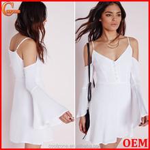 Fashion cold shoulder button front festival skater dress in white