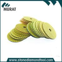 100mm diamond spiral velcro wet polishing pads