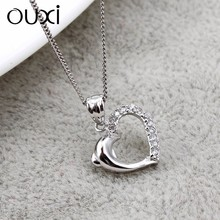 OUXI wholesale 925 sterling silver jewelry pendant hearted crystal Y30121
