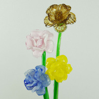 Handcraft Top Selected Long Stem Red/Clear/Yellow Decorative Wholesale Glass Flower