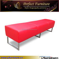 Stainless steel base Faux Leather cube ottoman PFS1572