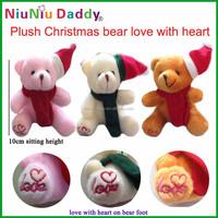 10cm Plush Christmas bear love with heart on bear foot 3 colors Plush toys wholesale 60pcs/lot