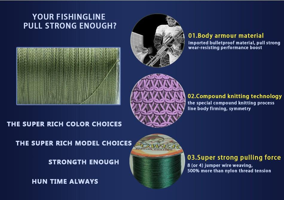 1000M Power Brand Japan Multifilament 100% PE Braided <font><b>Fishing</b></font> Line 10LB to 100LB Free Shipping