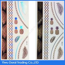 Tropical Custom Body Art DIY Metallic Mixed Gold and Colors Water Transfer Tattoo Sticker