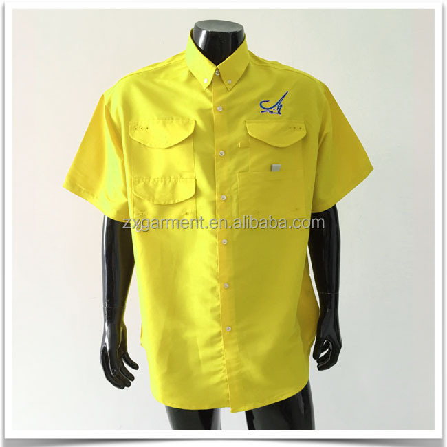 Short sleeved fishing shirts with 100 polyester buy for Polyester fishing shirts