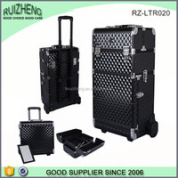 2 in 1 Aluminum nail polish trolley vanity hairdressing makeup case