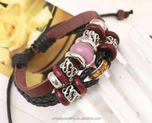 hot selling hand made leather string weave bracelet