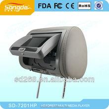 "High Quality 7"" Car Headrest Monitor DVD 16:9 Screen FM USB DVD/VCD IR Headphone English Menu"