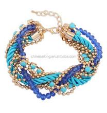 Bohemian bracelet crystal bead ball Chain gemstone chain nylon cord handmade woven bracelet braided bracelet