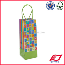 Graphic printed paper bottle bag