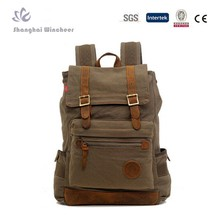 2014 Best Seller! Men's canvas and leather backpack day pack