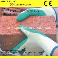 China Manufacture 10 Gauge Rubber Latex Palm Coated Gloves EN388