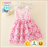 New arrival baby sleeveless dresses 100% cotton kids summer party wear dress for girls