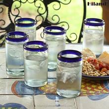 High quality hand blown blue rim mexican drinking glass
