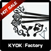 KYOK pure black curtain rod set, wrought iron curtain pole accessories & black curtain brackets on hot sale