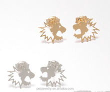 Animal design 925 sterling silver lion stud earrings wholesale