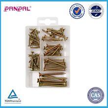 2015 factory direct china 76pcs assorted yellow zinc plated flat pozi head chipboard screw