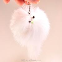 unstuffed customized logo promotional mini cute plush small fox tail keychain