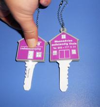 house shape silicone rubber pvc key cover key cap key holder with led light