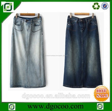 de alta calidad nuevo diseño oem proveedor lavan las mujeres sexy modesto al por mayor de las señoras faldas largas de mezclilla