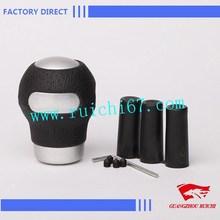Black Aluminium Leather Ball Type Car Gear Stick Shift Knob Shifter