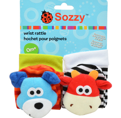 Sozzy plush toy, nursery toy, sozzy foot finder with paper card package, sozzy baby socks, dog and cow designs