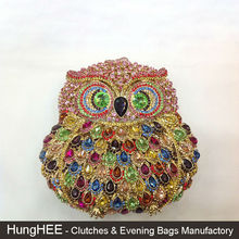 Luxury Cocktail Party Purse Multicolor Hollow Crystal Rhinestone Owl Crystal Evening Bags