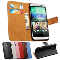 2014 Book Style Sophisticated Technology Genuine Leather Flip Cover Wallet Phone Case for HTC M8