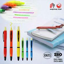 Cheap highlighter marker pen plastic ball pen