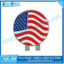 USA Flag Ball Marker And Magnetic Golf Hat Clip