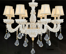 Facny Crystal Chandelier Lighting with Fabric Lampshade