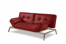 Red Leather Faux Sofa Bed For Hotels