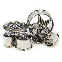 Stainless Steel Double Flared Zebra Star Flesh Tunnel Body Piercing