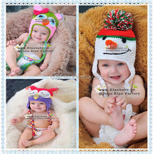 Free shipping christmas gift lovely snowman hat baby warm hat handmade crochet cotton hats/caps