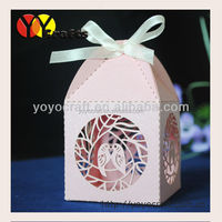 Eco-friendly laser cut wedding gift box, laser cut wedding favor boxes with ribbon wholesale and retail