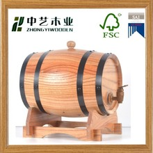 Hot Sale Solid Pine Wood Beer/Wine Barrel With Stainless Steel Bands