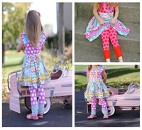 Wholesale clothing kids clothes thanksgiving outfits pink dots colorful girls fall outfits