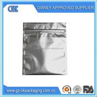 Silver Ziplock Aluminium Foil bag Heat Sealed/silver food grade foil ziplock packaging bags/coffee heat sealed pouches